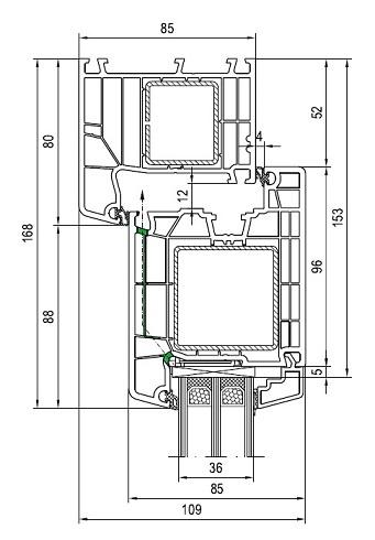 Haustüren aluplast IDEAL 7000 oben  Rahmen-Flügel