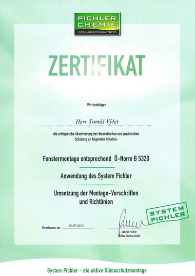 ZERTIFIKAT FÜR RAL MONTAGE SYSTEM PICHLER  NACH Ö-NORM B 5320